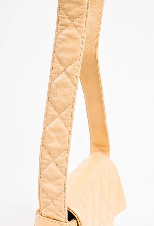 Vintage Chanel Tan Leather Diamond Quilted Box Flap Shoulder Bag 5