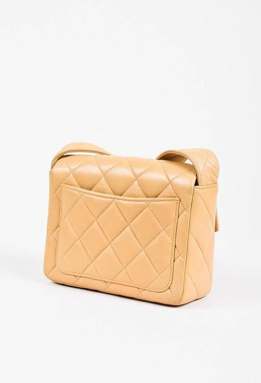 Vintage Chanel Tan Leather Diamond Quilted Box Flap Shoulder Bag 2