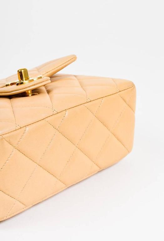 Vintage Chanel Tan Leather Diamond Quilted Box Flap Shoulder Bag 3
