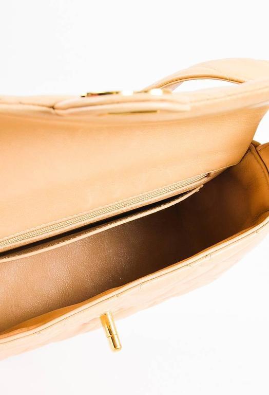 Vintage Chanel Tan Leather Diamond Quilted Box Flap Shoulder Bag 6