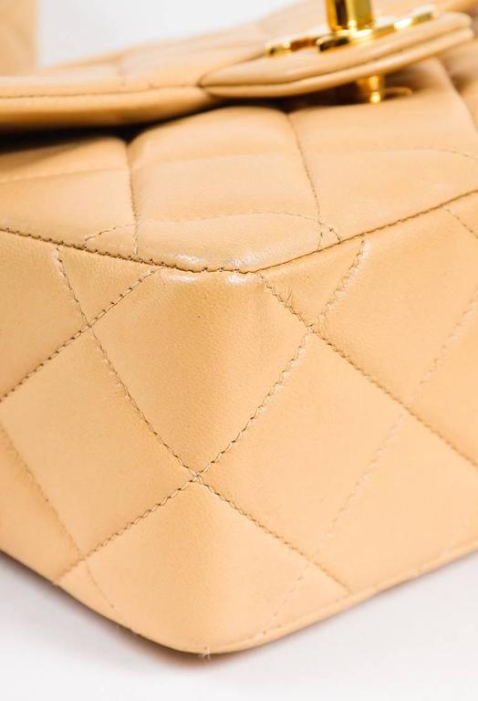 Vintage Chanel Tan Leather Diamond Quilted Box Flap Shoulder Bag 4