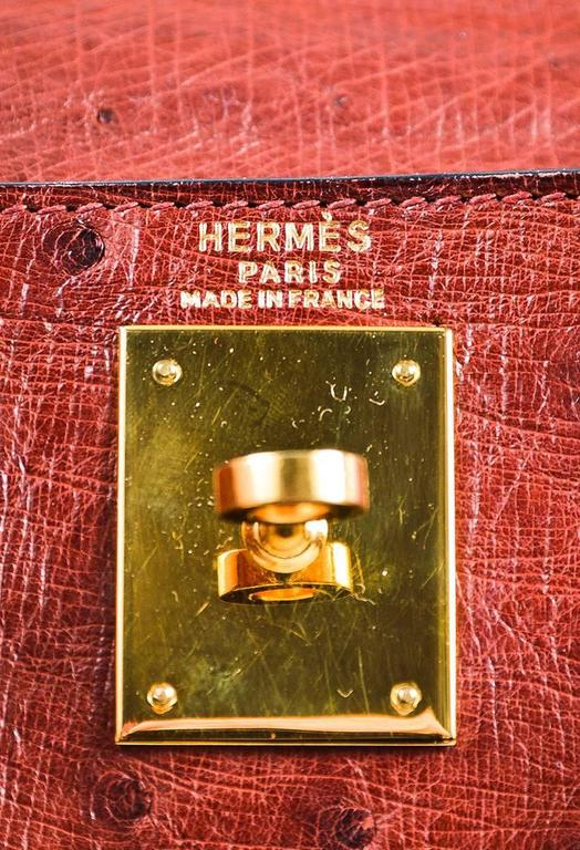 "Vintage Hermes ""Rouge H"" Ostrich Gold Tone ""Kelly Sellier 28"" Top Handle Bag 8"