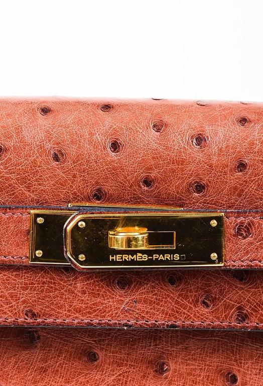 "Vintage Hermes ""Rouge H"" Ostrich Gold Tone ""Kelly Sellier 28"" Top Handle Bag 6"