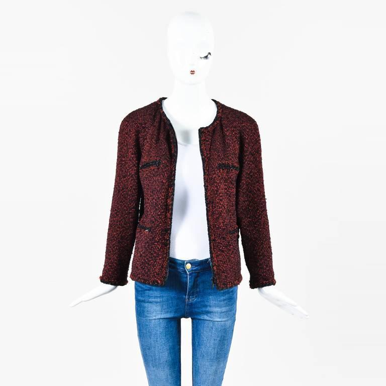 Chanel Red & Black Tweed Zipped Jacket SZ 42 5
