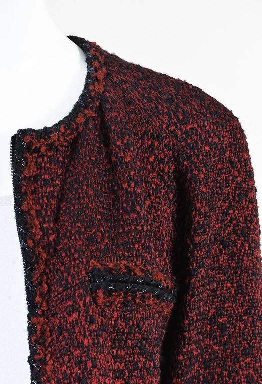 Chanel Red & Black Tweed Zipped Jacket SZ 42 4