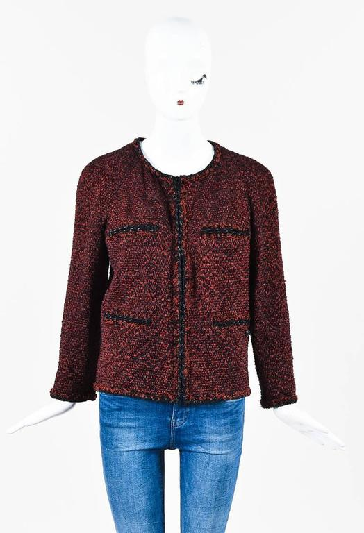 Chanel Red & Black Tweed Zipped Jacket SZ 42 2