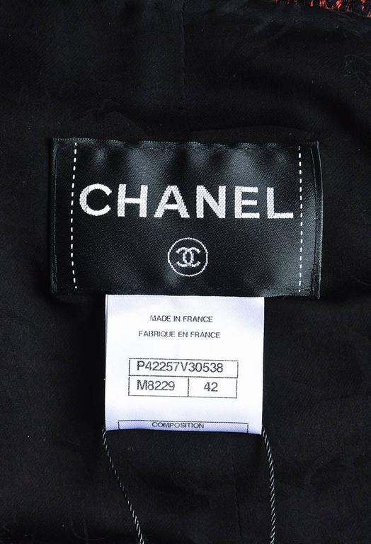 Chanel Red & Black Tweed Zipped Jacket SZ 42 6