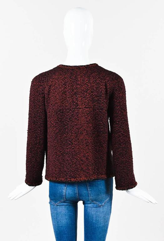 Chanel Red & Black Tweed Zipped Jacket SZ 42 3