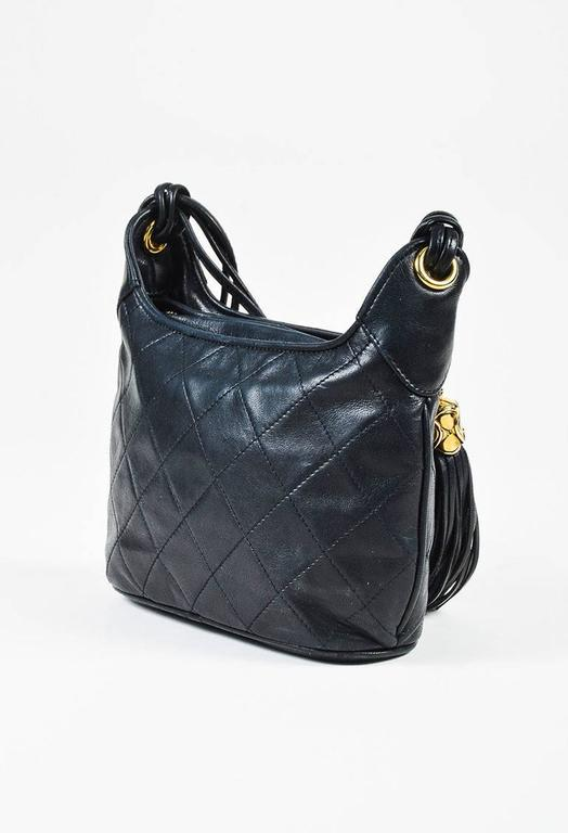 Vintage Chanel Black & Gold Tone Lambskin Leather Quilted Tasseled Crossbody Bag 2