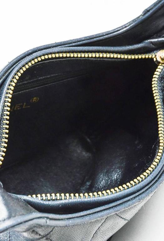Vintage Chanel Black & Gold Tone Lambskin Leather Quilted Tasseled Crossbody Bag 5