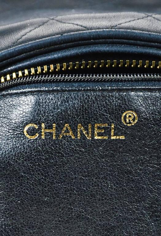 Vintage Chanel Black & Gold Tone Lambskin Leather Quilted Tasseled Crossbody Bag 8