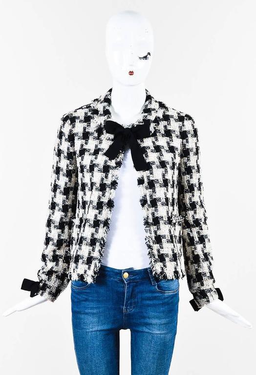 Chanel 04A Cream Black Multicolor Tweed Checkered Bow Long Sleeve Jacket SZ 38 2