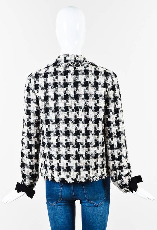 Chanel 04A Cream Black Multicolor Tweed Checkered Bow Long Sleeve Jacket SZ 38 3