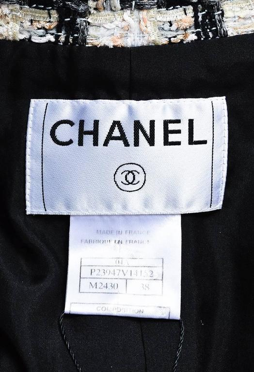 Chanel 04A Cream Black Multicolor Tweed Checkered Bow Long Sleeve Jacket SZ 38 5