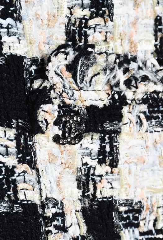 Chanel 04A Cream Black Multicolor Tweed Checkered Bow Long Sleeve Jacket SZ 38 4