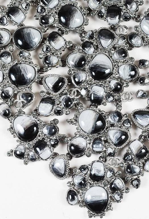 Chanel Runway 11A Silver Tone Metal Gray Marbled Resin Crystal Bib Necklace 2