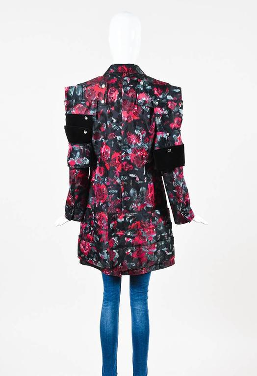Comme des Garcons Black Red Floral Jacquard Velvet Paneled Button Up Long Jacket 3