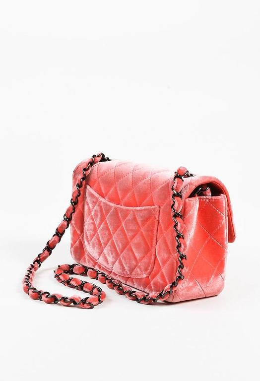"""Chanel Coral Pink Velvet & Leather Quilted Crossbody """"Classic New Mini"""" Bag 2"""