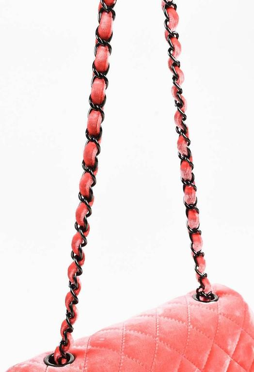 """Chanel Coral Pink Velvet & Leather Quilted Crossbody """"Classic New Mini"""" Bag 7"""