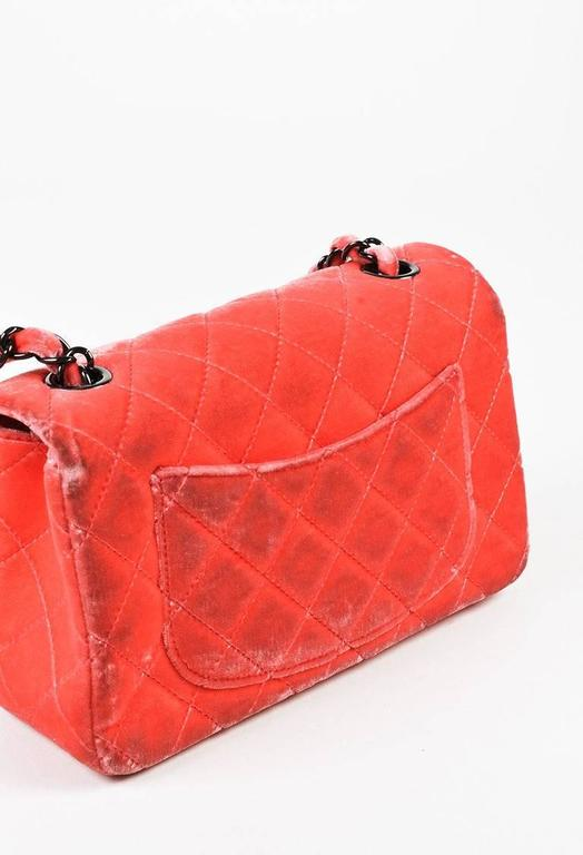 """Chanel Coral Pink Velvet & Leather Quilted Crossbody """"Classic New Mini"""" Bag 3"""