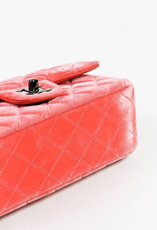 """Chanel Coral Pink Velvet & Leather Quilted Crossbody """"Classic New Mini"""" Bag 4"""