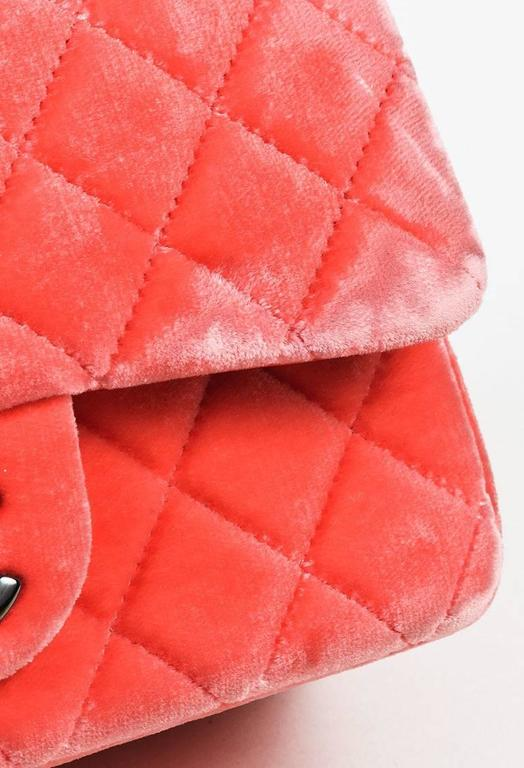 """Chanel Coral Pink Velvet & Leather Quilted Crossbody """"Classic New Mini"""" Bag 6"""