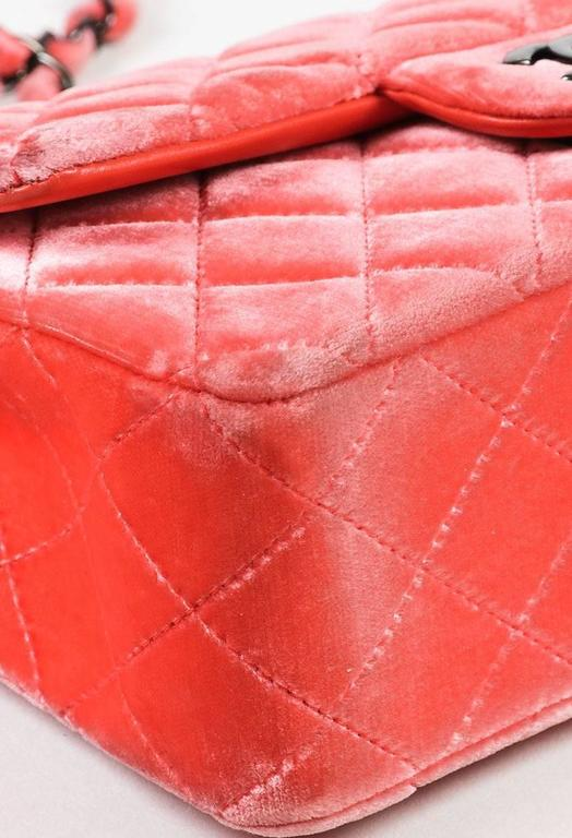 """Chanel Coral Pink Velvet & Leather Quilted Crossbody """"Classic New Mini"""" Bag 5"""