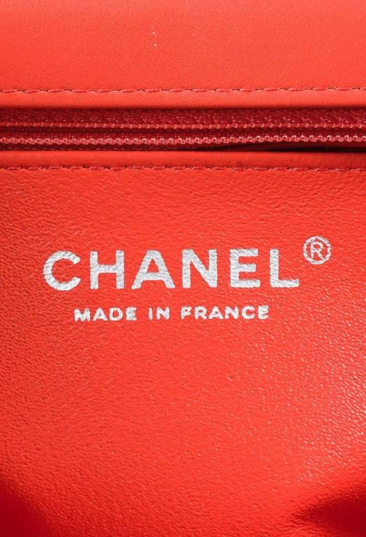 """Chanel Coral Pink Velvet & Leather Quilted Crossbody """"Classic New Mini"""" Bag 9"""