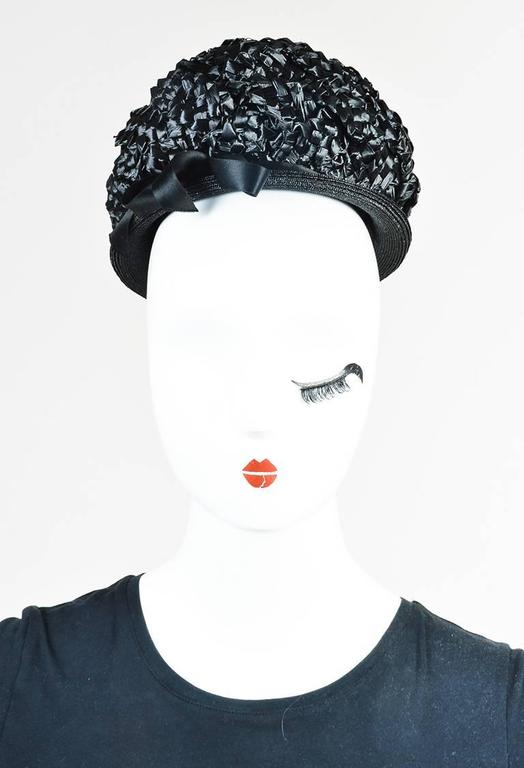 Vintage Christian Dior New York Black Woven Layered Hat 2