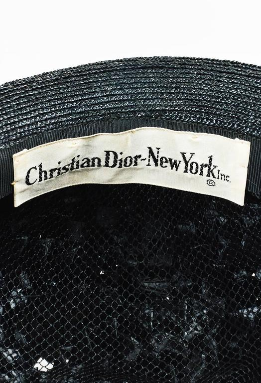 Vintage Christian Dior New York Black Woven Layered Hat 4