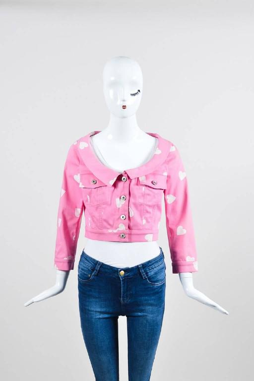 Moschino Couture Pink and White Heart Print Cropped Jacket 2