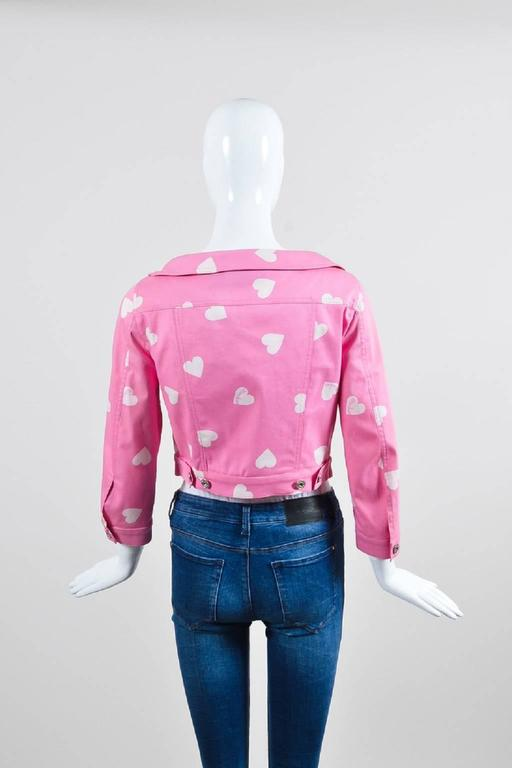 Moschino Couture Pink and White Heart Print Cropped Jacket 3
