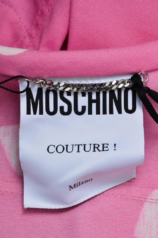 Moschino Couture Pink and White Heart Print Cropped Jacket 5