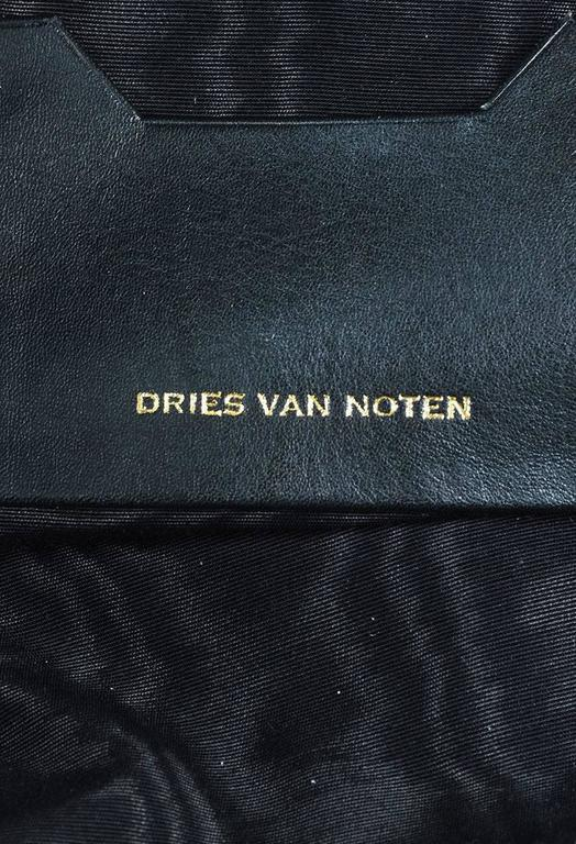 Dries Van Noten NWT Burgundy Black Velvet Leather Trim Drawstring Backpack Bag 8