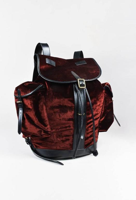 Dries Van Noten NWT Burgundy Black Velvet Leather Trim Drawstring Backpack Bag 2