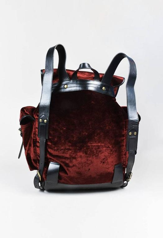 Dries Van Noten NWT Burgundy Black Velvet Leather Trim Drawstring Backpack Bag 3