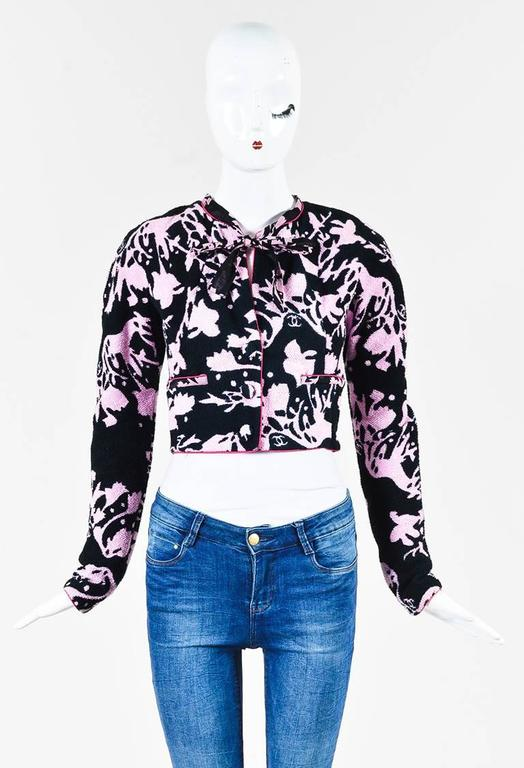 Chanel 05S Pink Black Terrycloth Printed Tie Neck Cropped Jacket SZ 34 2