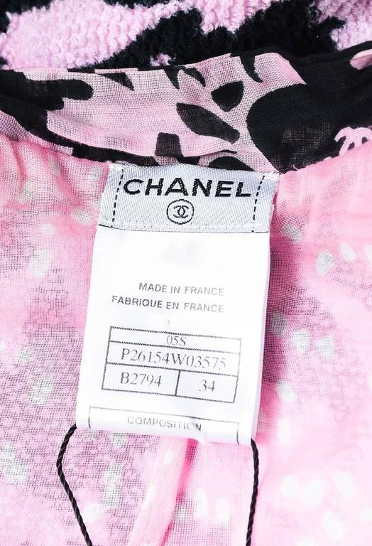 Chanel 05S Pink Black Terrycloth Printed Tie Neck Cropped Jacket SZ 34 5