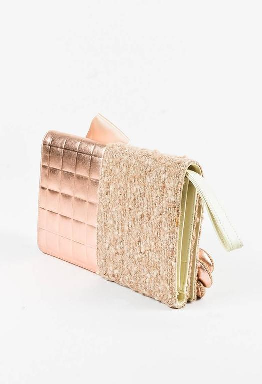 Chanel 01A Tan Rose Gold Leather Tweed Camellia Clutch 2