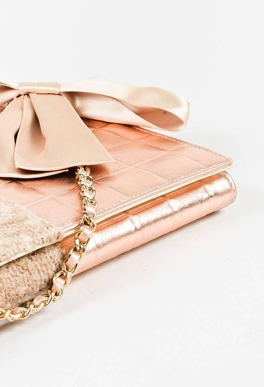 Chanel 01A Tan Rose Gold Leather Tweed Camellia Clutch 3