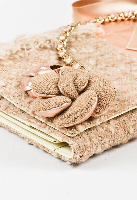 Chanel 01A Tan Rose Gold Leather Tweed Camellia Clutch 4