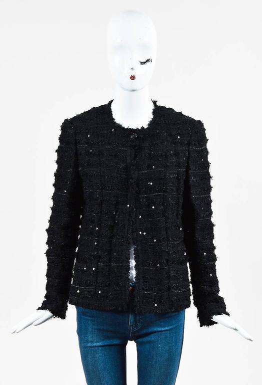 Chanel Black Woven Tweed Sequin Fringe Trim Long Sleeve Blazer Jacket 2