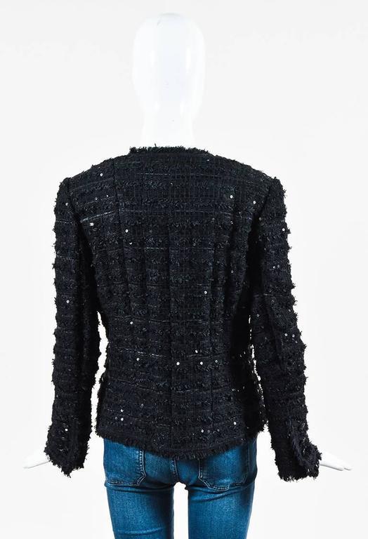 Chanel Black Woven Tweed Sequin Fringe Trim Long Sleeve Blazer Jacket 3