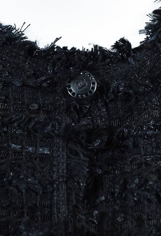 Chanel Black Woven Tweed Sequin Fringe Trim Long Sleeve Blazer Jacket 4