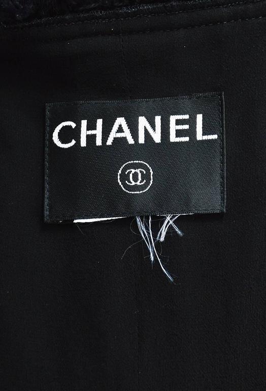 Chanel Black Woven Tweed Sequin Fringe Trim Long Sleeve Blazer Jacket 5