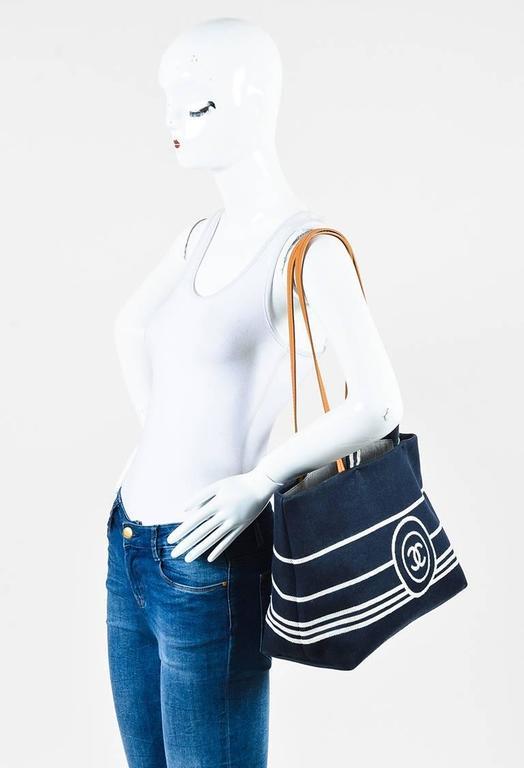 Chanel Dark Blue White Denim 'CC' Striped Shoulder Tote Bag 10