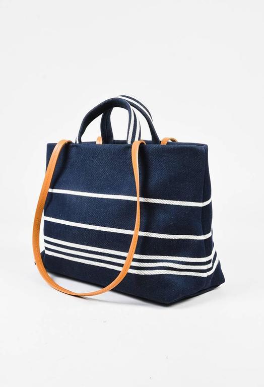 Chanel Dark Blue White Denim 'CC' Striped Shoulder Tote Bag 2