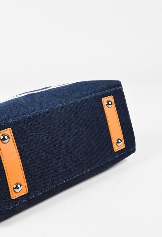 Chanel Dark Blue White Denim 'CC' Striped Shoulder Tote Bag 3