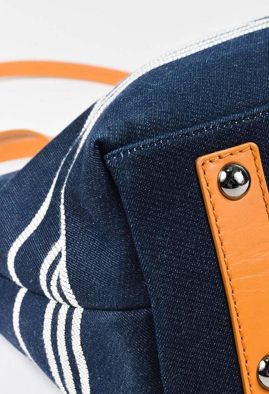 Chanel Dark Blue White Denim 'CC' Striped Shoulder Tote Bag 4