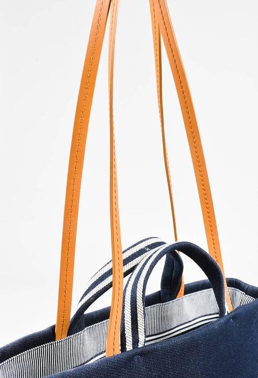 Chanel Dark Blue White Denim 'CC' Striped Shoulder Tote Bag 5